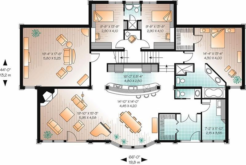 Planos de casas de 2 niveles for Casas campestres modernas planos