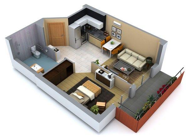 Planos de casas gratis de una planta for Cocinas de 3 metros de largo