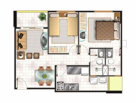 Planos de casas con medidas for Diseno de apartamentos de 90 metros cuadrados