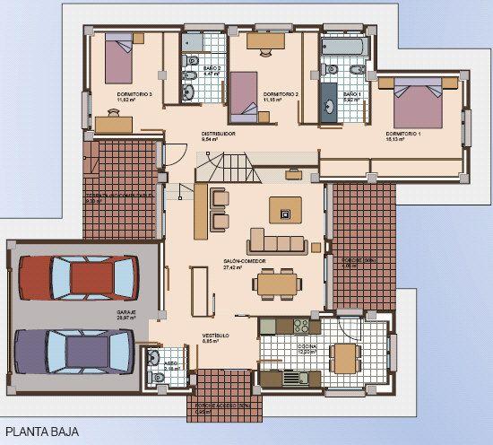 Planos de casas de un piso modernas for Planos de casas medianas