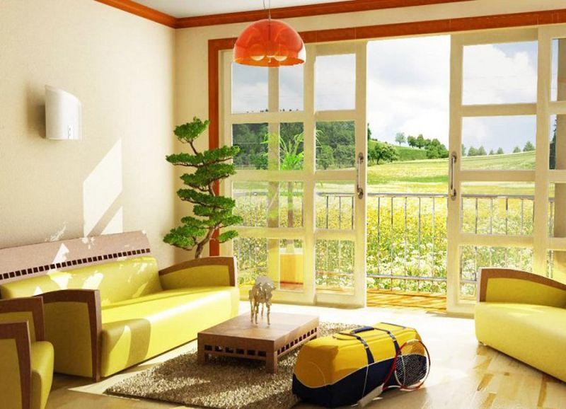 Decoracion interior y mobiliarios de color amarillo for Casa moderno kl