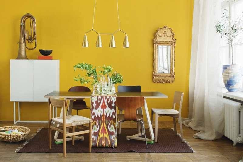 Decoracion interior y mobiliarios de color amarillo for Colores para living comedor feng shui