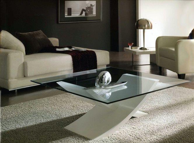 Mesitas de centro en vidrio y madera for Mesas de comedor cuadradas modernas