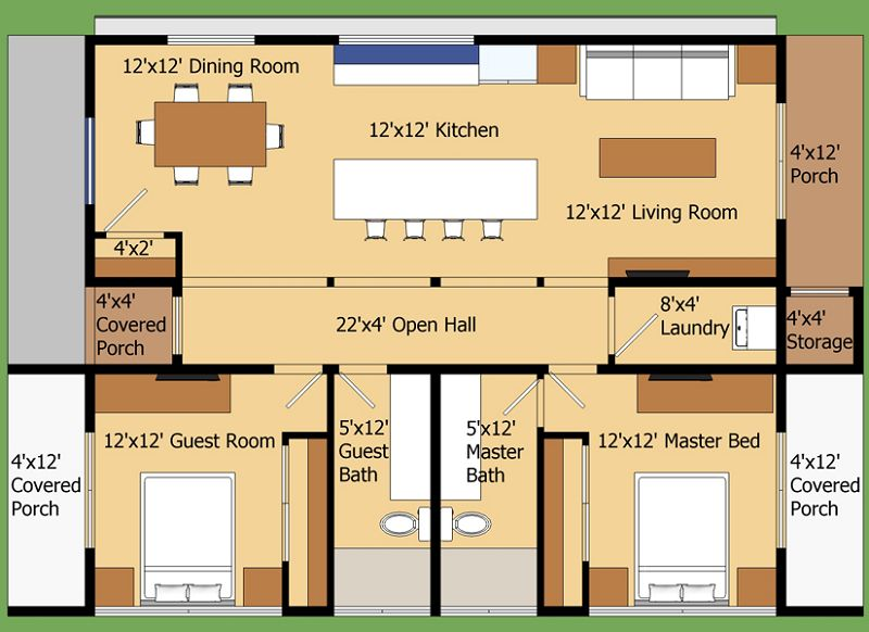 Planos arquitect nicos de casas y apartamentos for Medidas de muebles para planos arquitectonicos