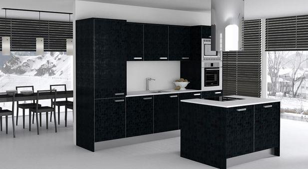 Las mejores cocinas decoradas en color negro for Cocina con electrodomesticos de color negro