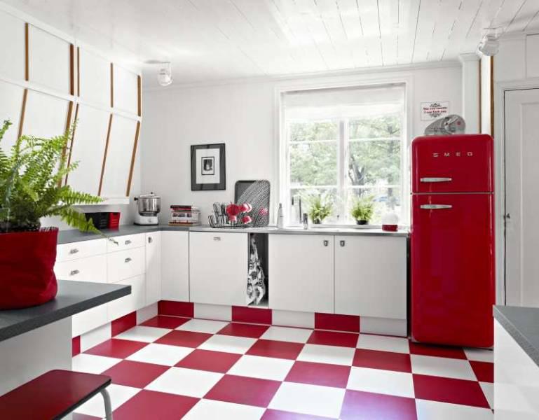 Utilizar los colores rojo y blanco en la decoración de mi cocina