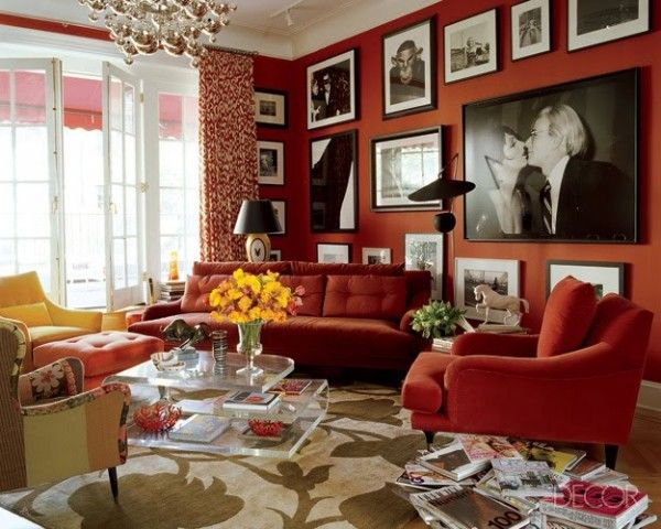 red ornaments living room decorar la sala con flores 17333