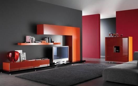Una Pared En Color Naranja Intenso Con Muebles Negros Es Recomendada ...