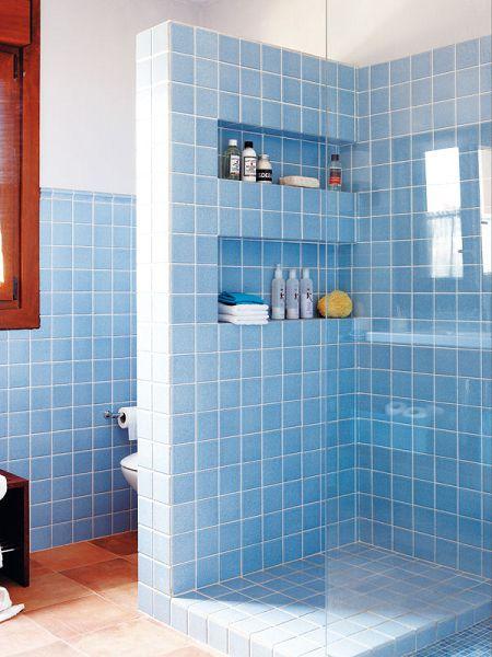 Crear hornacinas en las duchas de obra for Estanterias ducha bano