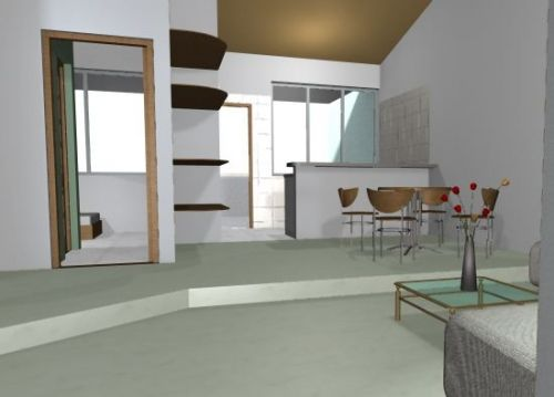 Decorar sala con escalones for Divisiones para sala y cocina