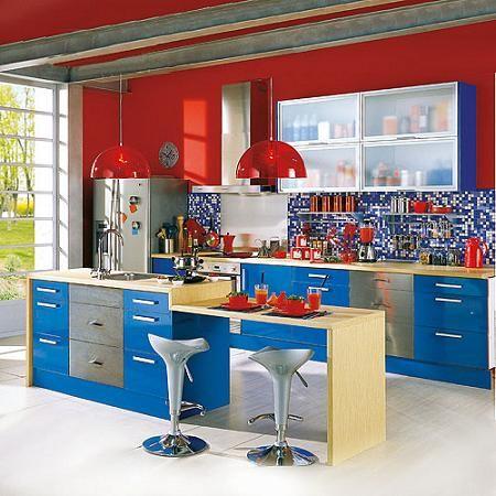 Beneficios De Decorar Tu Cocina En Rojo Y Azul - Cocinas-en-rojo