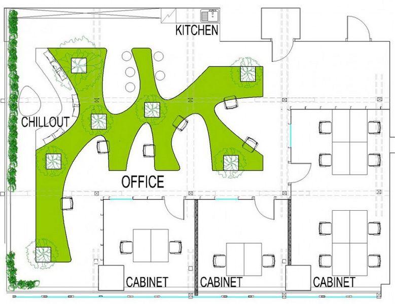 Greenhouse for Distribucion de oficinas modernas
