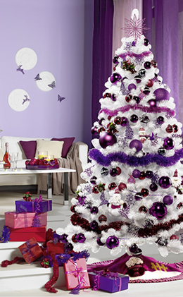 Decoraci n de navidad en color morado - Arbol de navidad morado ...