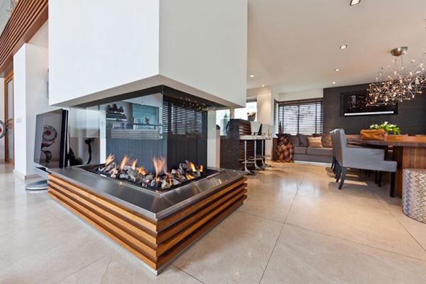 Diseño de Interiores ecléctico chimenea