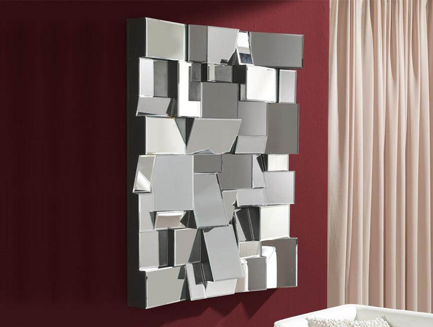 Espejos modernos con formas geom tricas Decoracion de salas con espejos en la pared