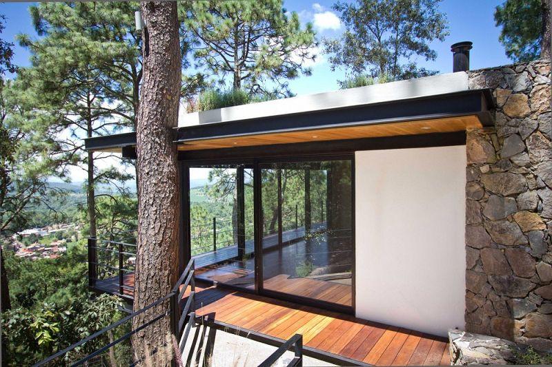 Casa del bosque moderno kiosko for Cascadas artificiales modernas