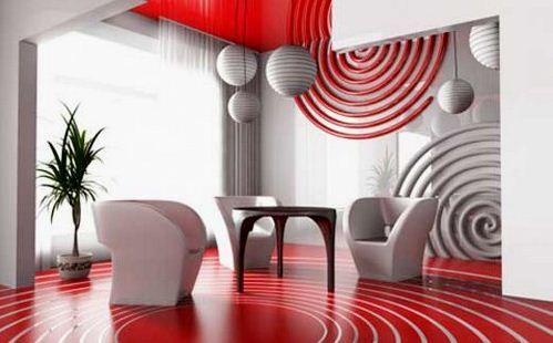 Sala moderna roja y gris 2