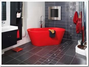 Decoración De Baño Rojo Y Negro