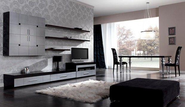 Decorar sala de estar en negro y plateado 2