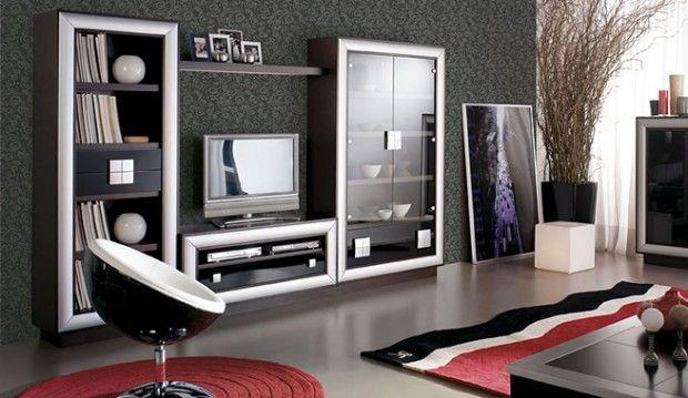 Decorar sala de estar en negro y plateado