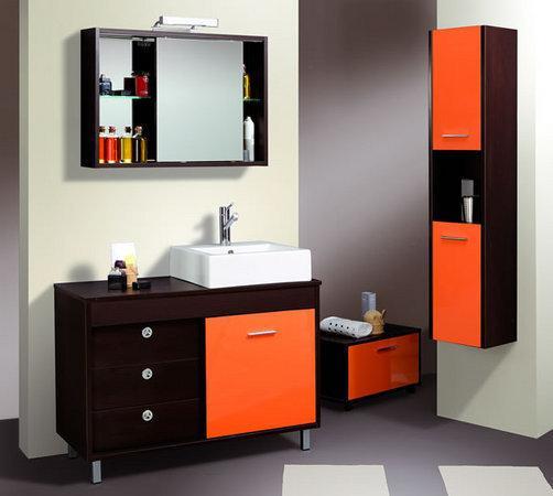 Detalles anaranjados en la decoraci n de ba os for Banos modernos naranjas