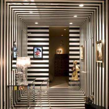 Estampados rayados blanco y negro en la decoración moderna