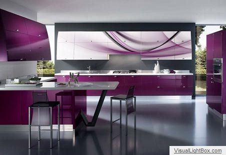 Armarios con frente de cristal para cocinas - Cocinas con pared de cristal ...