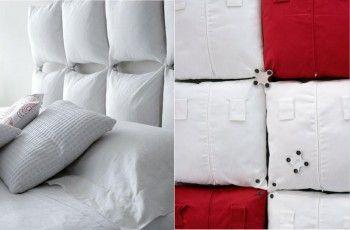 Cabecero de cama con almohadones