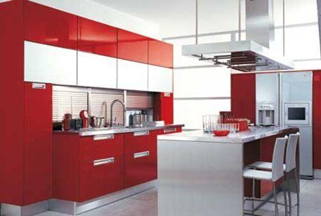 Cocinas rojo en diferentes estilo  3