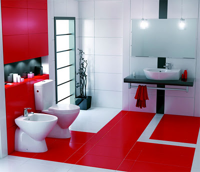 bathroom red and white decoraci 243 n de ba 241 os con colores brillantes 16370
