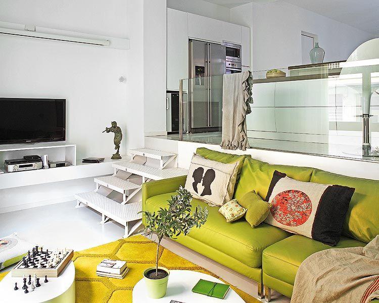 Decoraci n de salas con sof verde for Decorar casa con muebles verdes