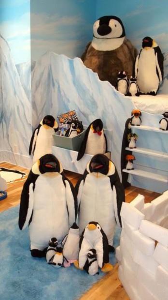 Decoracion dormitorio infantil tematica pingüinos