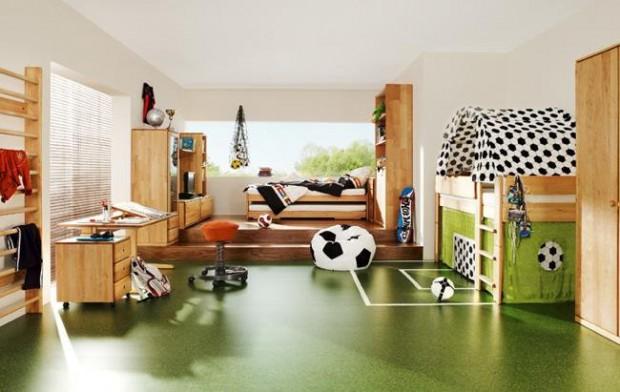 Dormitorio infantil temática futbol