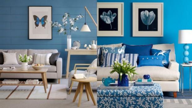 El uso del color azul en la decoración.