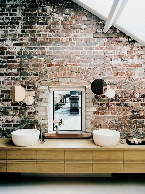 Ladrillos de vista para decorar baños 2