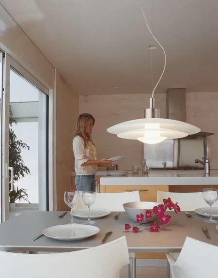 Lámparas colgantes en la cocina