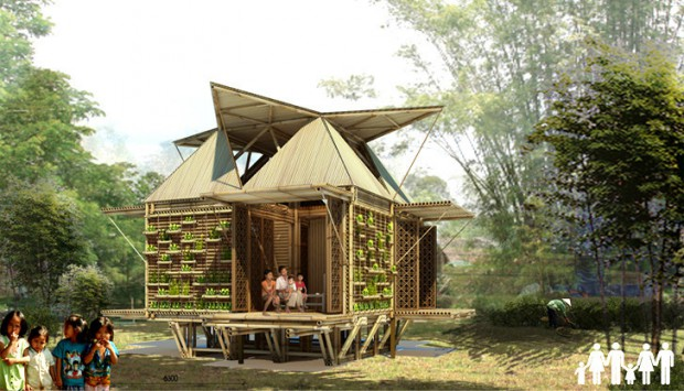 Moderna casa de bambú render