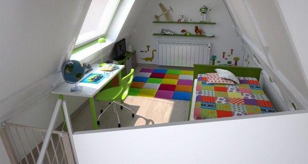 Un dormitorio infantil en la buhardilla 3