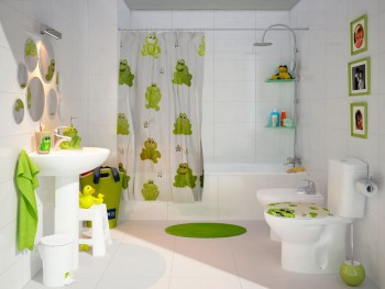 Decoracion de baño infantil tematica ranas