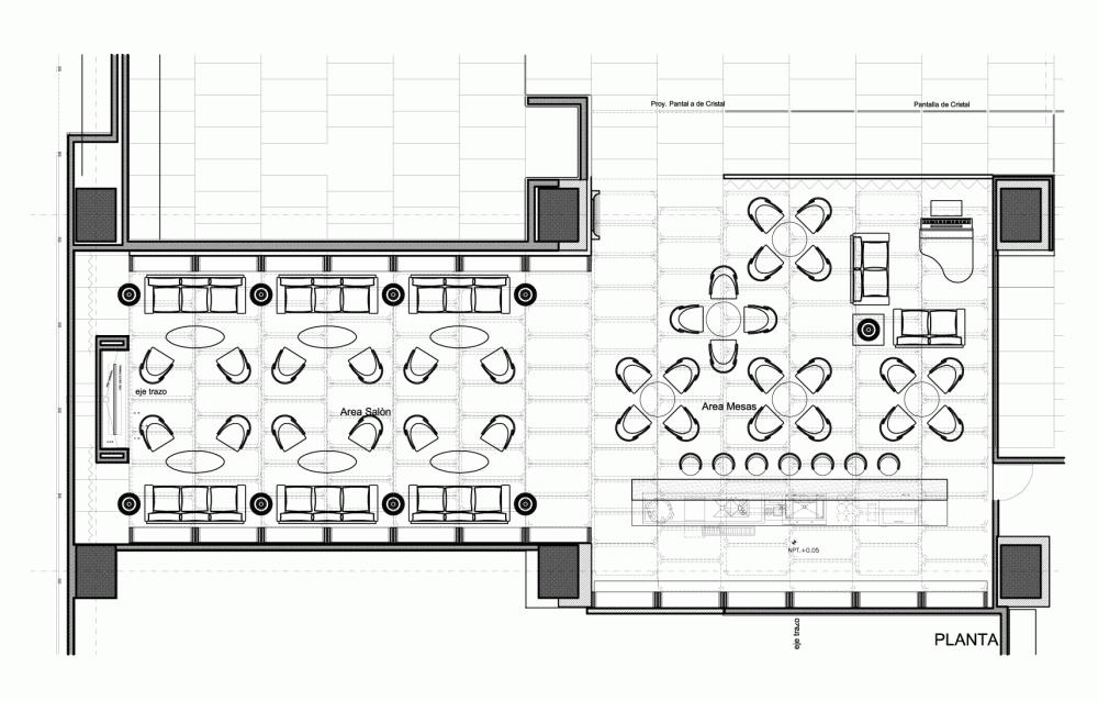 Hilton lobby bar for Planos de restaurantes modernos