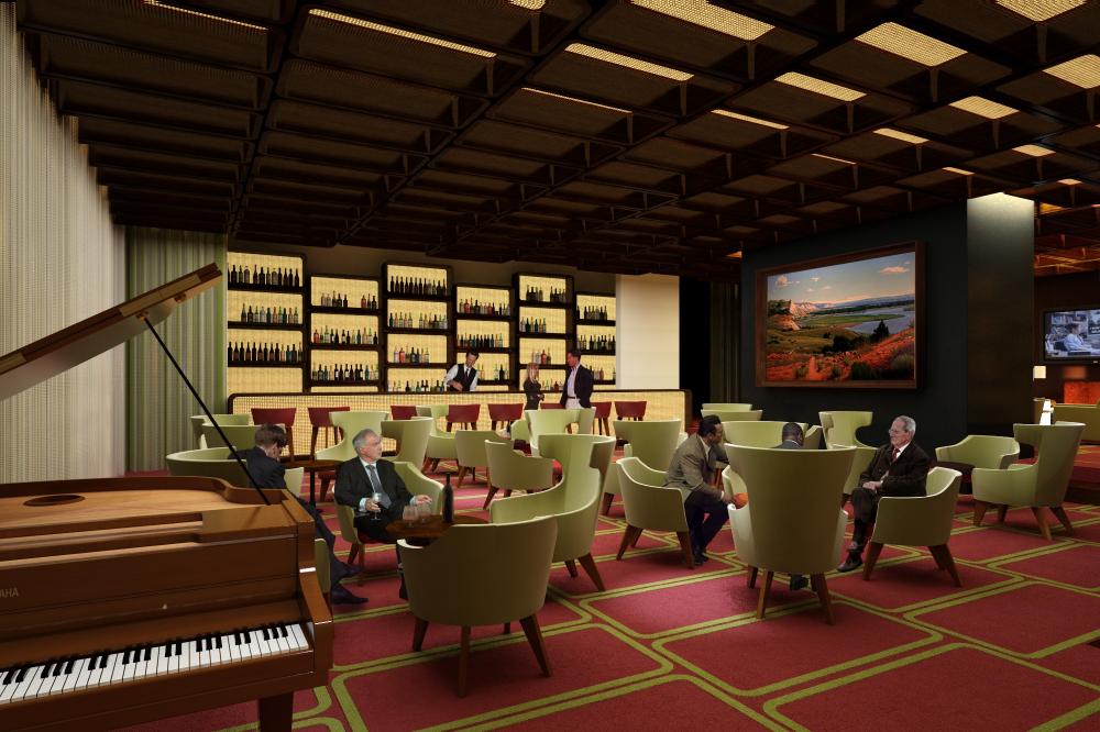 Hilton lobby bar for Diseno de lobby de hoteles