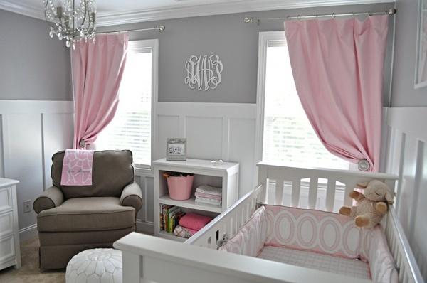 Dormitorios para bebés en rosa y gris