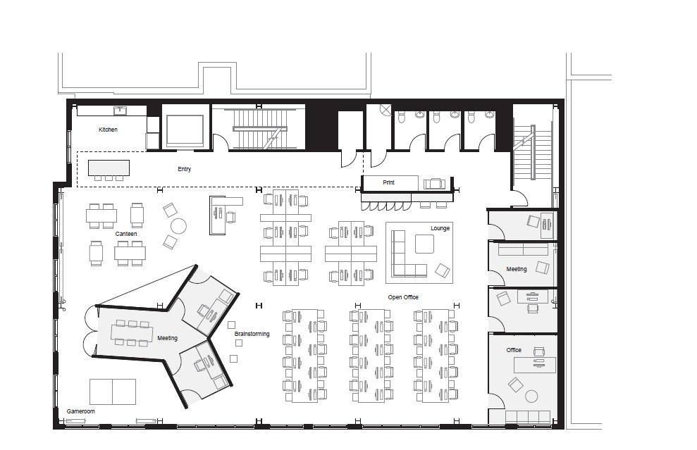 Fine modernas oficinas for Planos de oficinas pequenas modernas