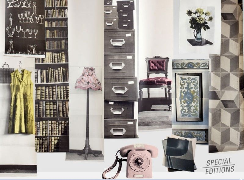 muebles y accesorios vintage impresos en papel de paredes