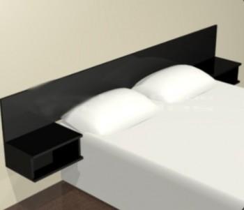 Cabecero de cama con mesa de luz flotante
