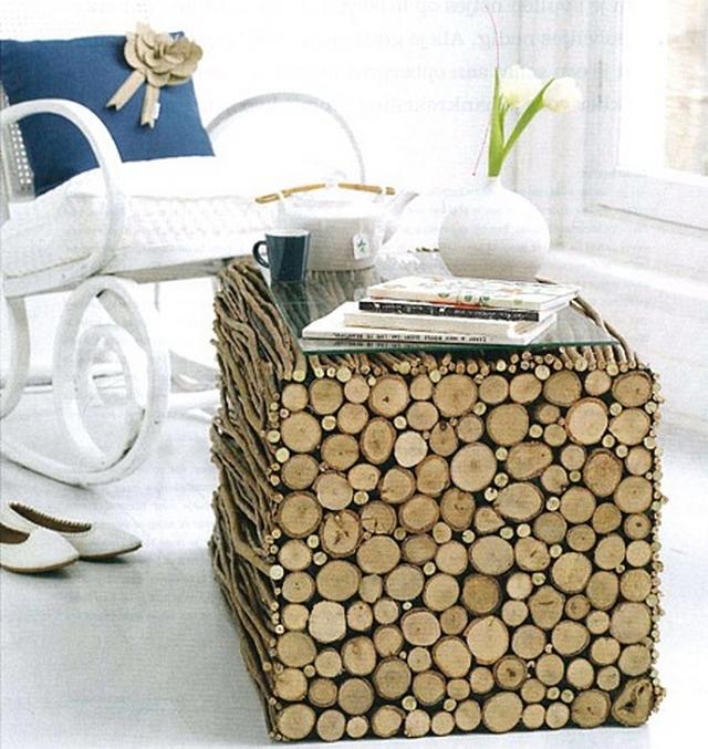 Decoracion de interiores con troncos de madera 3