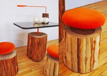 Decoracion de interiores con troncos de madera