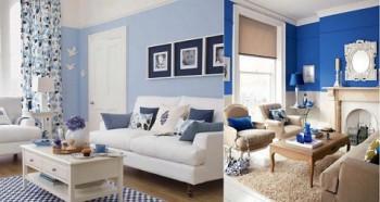 El color blanco y el azul en la decoración.