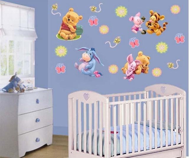 Dormitorio de bebes al estilo winnie pooh - Decoracion pared habitacion bebe ...