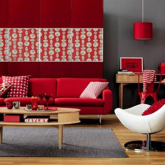 Decoracin con muebles rojos